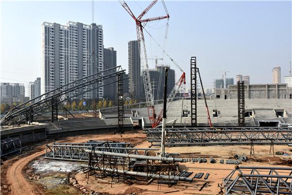 鄱阳湖体育中心建设火热