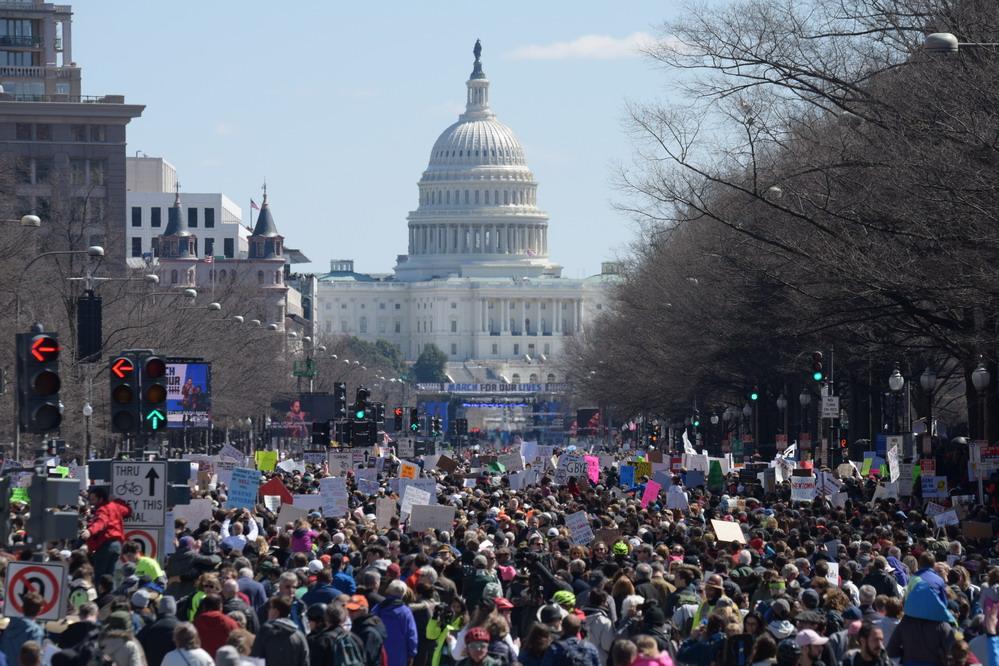 全美数百个城镇举行游行呼吁控枪