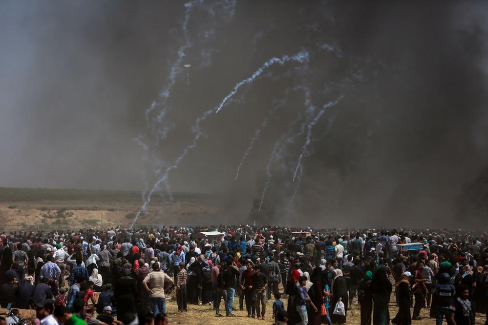 巴勒斯坦抗议者与以军冲突致55名巴勒斯坦人死亡