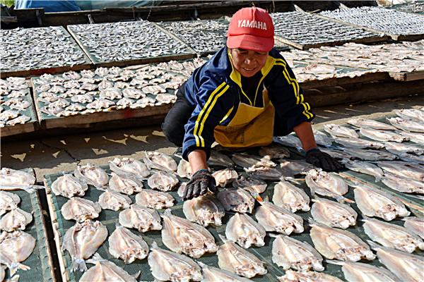 渔民忙着给水产品进行腌制