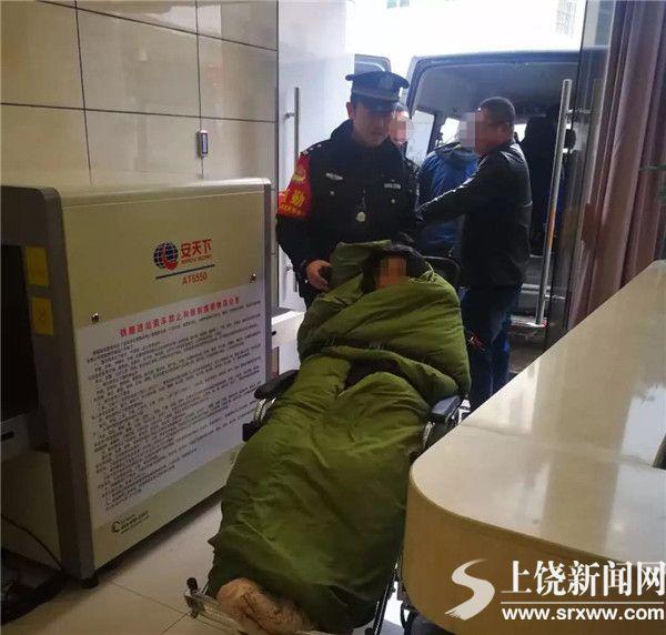 """脑血栓病人遇上春运人潮 民警开辟""""生命通道"""""""
